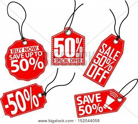50% off red tag set vector illustration