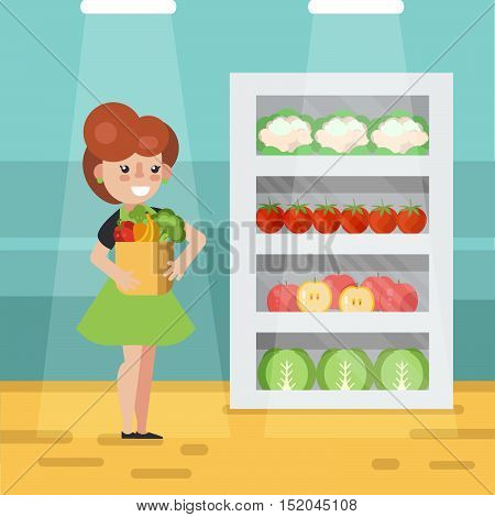 Woman in grocery store vector illustration. Woman with grocery bag full of grocery goods.