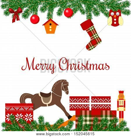 Merry Christmas postcard with wreath, ribbon, ornament balls, fairy lights, bows, gifts, Nutcracker, rocking-horse, birdhouse. Vector illustration Xmas For postcards greetings prints banner
