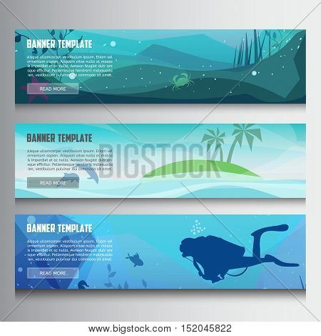 Underwater horizontal banners.Horizontal banners with scenes presents ocean,sea animals,island,diving.Colorful low polygon banner set.Island in the ocean and underwater world with different animals