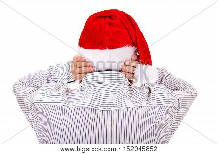 Rear View of Man in Santa Hat Covering his Ears on the White Background