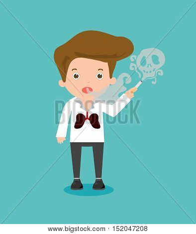 Man smoking, cartoon vector illustration, World No Tobacco Day, man smoking cigarette on blue Background. Stop smoking,No smoking,