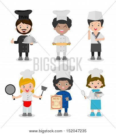 set of professional chefs,Chef ethnically diverse, Chef team Isolated on white background, cooking chefs vector illustration, cooks chefs, cook people, Cute Kids Chef, Children Cooking,
