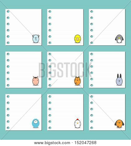 Collection of note papers, notebook paper background - Animal Design on Paper Background, template design Vector illustration