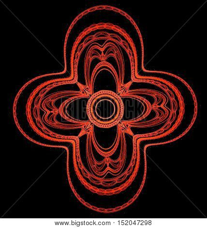 Abstract symmetrical ornamental pattern of red cross on black bacground