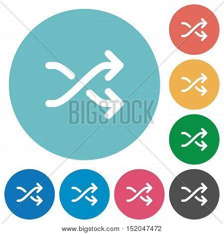 Flat media shuffle icon set on round color background.