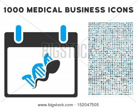 Blue And Gray Sperm DNA Replication Calendar Day vector icon with 1000 medical business pictograms. Set style is flat bicolor symbols, blue and gray colors, white background.