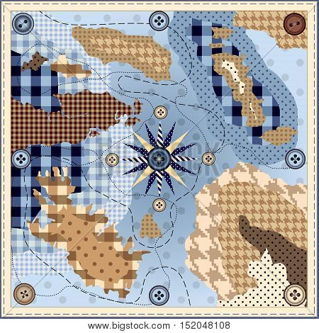 Design square neckerchief. Imitation of a geographical map in the style of Patchwork