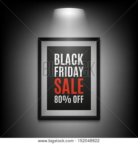Black Friday sale background. Illuminated picture frame on black background. Vector illustration.