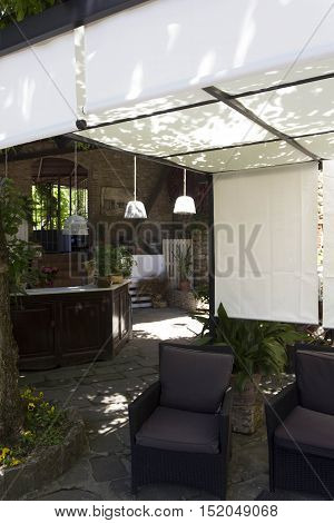FLORENCE, ITALY - MAY 21 2016: Outdoor bar corner on a restaurant on the Florentine hills nobody around