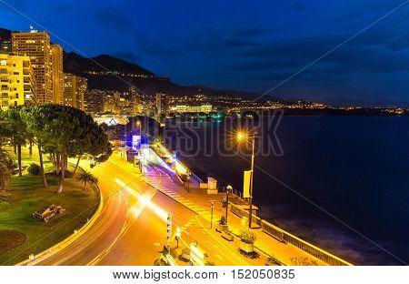 Monte Carlo beach at night