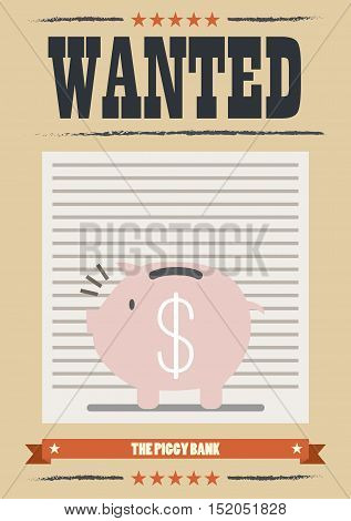 Wanted piggy bank poster. Wanted Vintage Poster