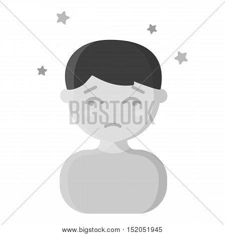 Dizziness icon monochrome. Single sick icon from the big ill, disease monochrome.