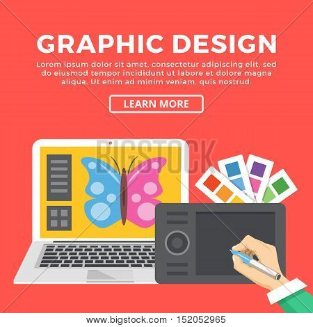 Graphic design web banner. Hand with pen drawing with digital tablet. Color palettes, laptop with butterfly on screen. Creating digital illustration, creative process concept. Vector flat illustration