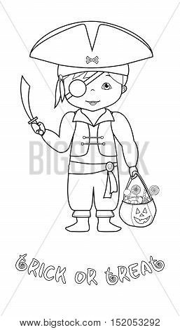 Happy halloween vector coloring page with cute cartoon pirate