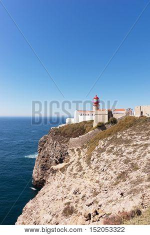 Lighthouse at Sagres at Cabo de São Vicente, Portugal
