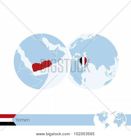 Yemen On World Globe With Flag And Regional Map Of Yemen.