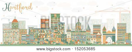Abstract Hartford Skyline with Color Buildings. Vector Illustration. Business Travel and Tourism Concept with Historic Architecture. Image for Presentation Banner Placard and Web Site.