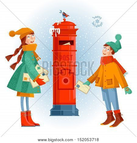Little girl and boy at the post box sending letters to Santa. Christmas greeting card. Vector illustration.