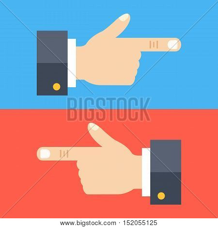 Hand with pointing finger set. Two hands showing left and right. Flat design concepts. Vector illustration