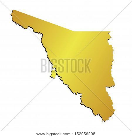 3D Sonora Mexico State Outline Gold Map