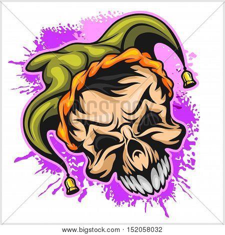Evil scary clown. Halloween monster, joker character. Vector illustration on grunge background