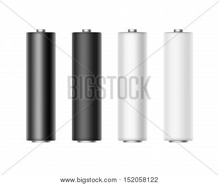 Vector Set of White Black Gray Metalic Matt and Glossy Alkaline AA Batteries Of Diffrent Color for branding Close up Isolated on White background