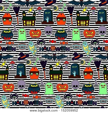 Seamless pattern with Halloween coloring patches. Pin badges set background. Colorful stickers wallpaper. Textile striped print for clothes.