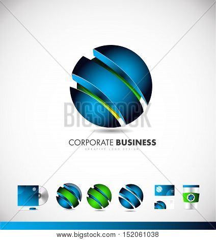 3d corporate sphere abstract blue green business vector logo icon sign design template identity