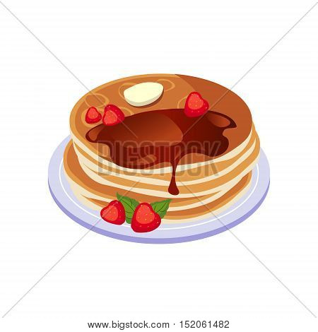 Pancakes With Chocolate Sauce Breakfast Food Element Isolated Icon. Simple Realistic Flat Vector Colorful Drawing On White Background.