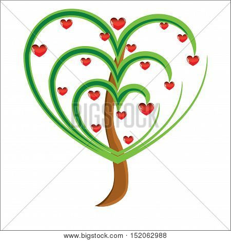 Vector apple tree with red fruits in the form of heart illustration Valentines