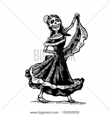 Day of the Dead Dia de los Muertos. The skeleton in the Mexican woman national costumes sing and dance. Vector hand drawn vintage engraving for poster label. Isolated on white background
