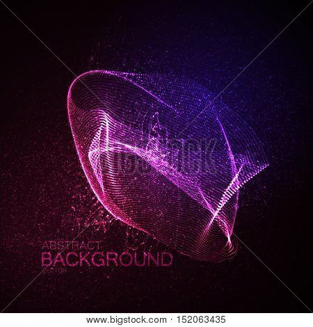 3D illuminated abstract shape of glowing particles. Futuristic vector illustration. Technology concept. Nano or microbiology vector. Physics concept