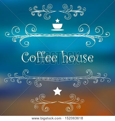 Vintage Coffee House card with monograms and lettering. Vector illustration.