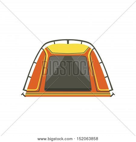 Small Orange Bright Color Tarpaulin Tent. Simple Childish Vector Illustration Isolated On White Background