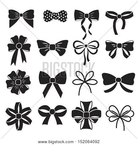 Holiday gift christmas bows vector set. Silhouette black ribbons knot for xmas gift illustration