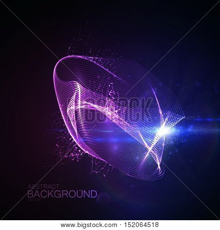 3D illuminated abstract digital neon splash of glowing particles and Flare lens light effect. Futuristic vector illustration of particles. Technology concept of radio or sound wave. Abstract energy background