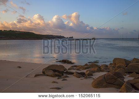 Porthcressa Beach at dawn, St Mary's, Isles of Scilly, England
