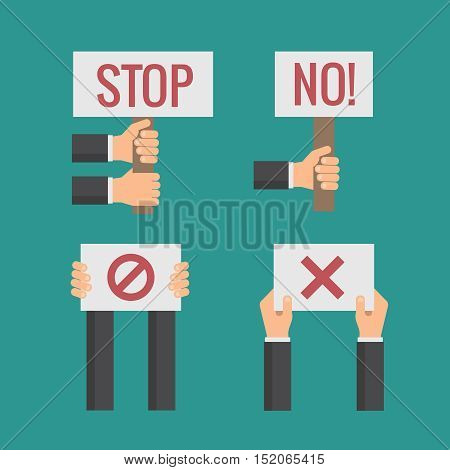 Hands holding No, Stop, Cross, Forbid protest signs. Vector flat set. Revolution and objections, page with text illustration
