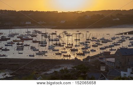 St Mary's Harbour at dawn, St Mary's, Isles of Scilly, England.