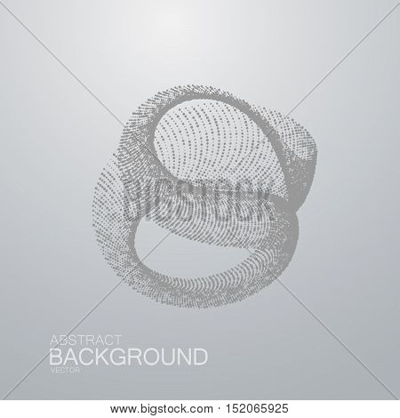 3D abstract shape of particles. Futuristic vector illustration. Technology concept. Nano or microbiology vector. Physics concept