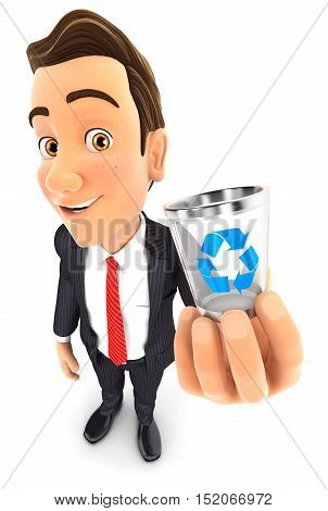 3d businessman holding trash can icon illustration with isolated white background