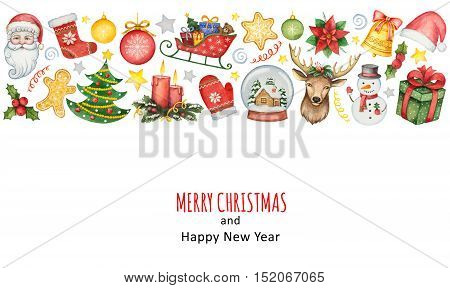 Hand painted watercolor background with elements for merry Christmas and happy new year. Illustration for design cards, invitations and greetings.