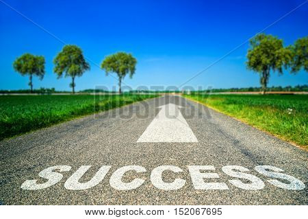Sucess Word Painted On Asphalt Road