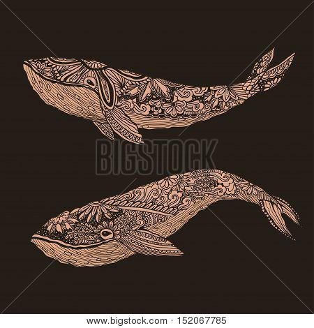 Large Multicolored Whale On A Blue Water Background. An Adult Painted By Hand In The Art Of Differen