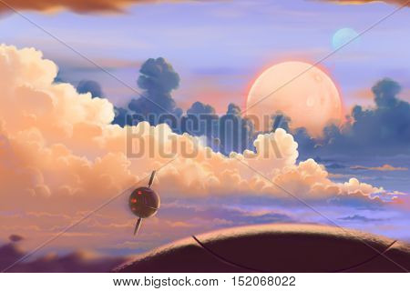 Fantastic and Exotic Allen Planet's Environment: Up in the Air. Video Game's Digital CG Artwork, Concept Illustration, Realistic Cartoon Style Background