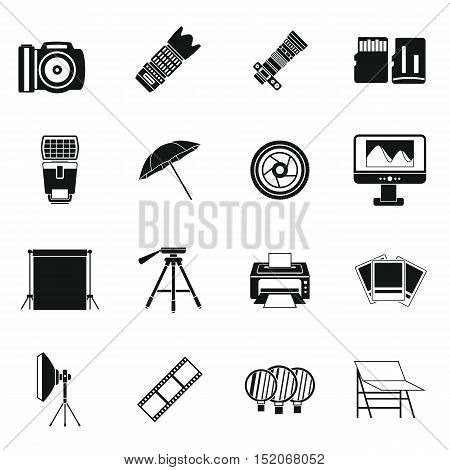Photo studio icons set. Simple illustration of 16 photo studio vector icons for web