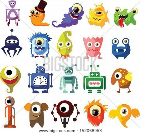 Vector set of drawings of different characters isolated monsters, germs, bacteria.