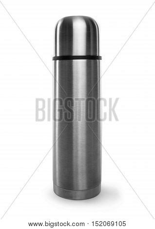 Stylish metal thermos on a white background.