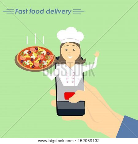 Online pizza delivery. The concept of e-commerce: online food ordering website. Fast food delivery service online courses. Flat vector illustration.